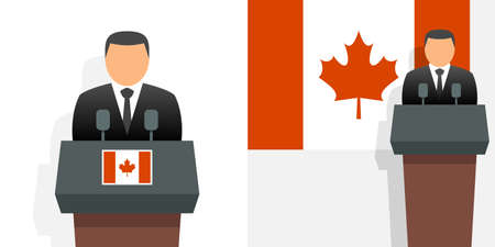 Canada prime minister and flag Illustration
