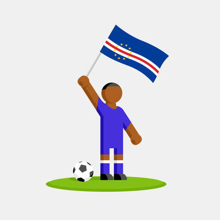 Cape verde soccer player in kit with flag and ball