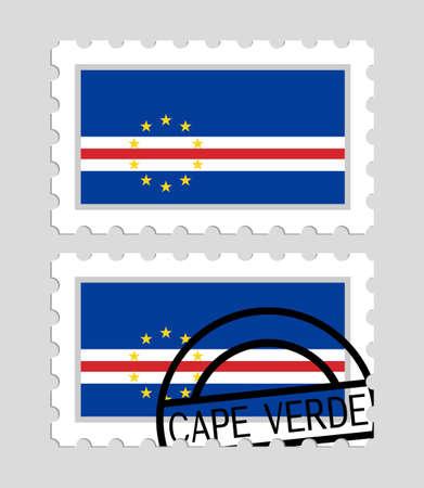 Cape verde flag on postage stamps Illustration