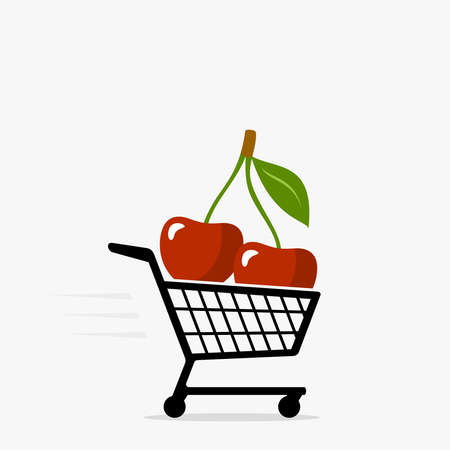 Shopping cart and cherry icon