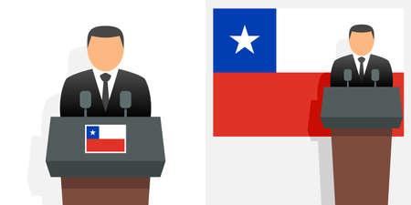 Chile president and flag Illustration