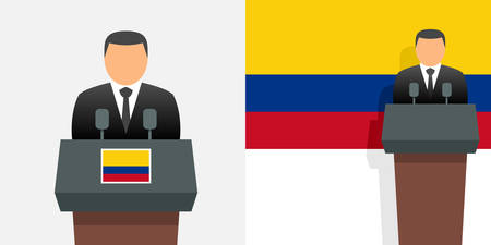 Colombia president and flag
