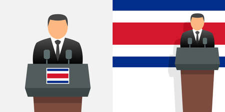 Costa rica president and flag Illustration