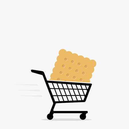 Shopping cart and cracker icon