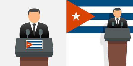 Cuba president and flag