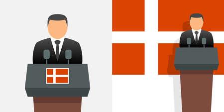 Denmark prime minister and flag