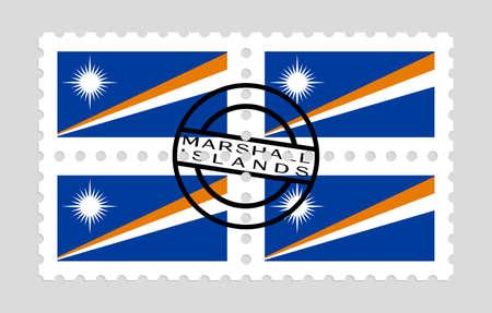 Marshall islands flag on postage stamps  イラスト・ベクター素材