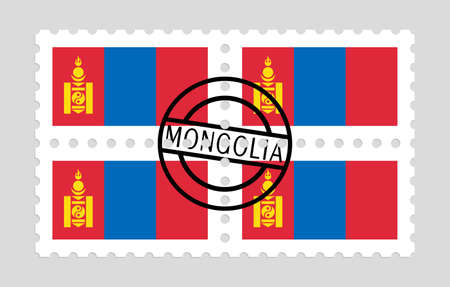 Mongolia flag on postage stamps Illusztráció