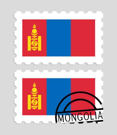 Mongolia flag on postage stamps Illustration