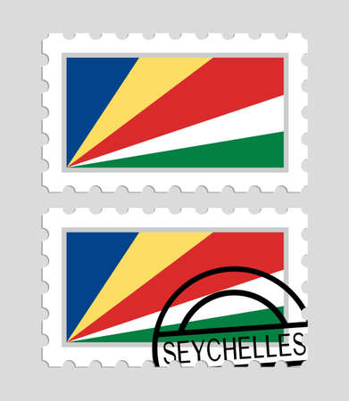 Seychelles flag on postage stamps