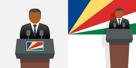 Seychelles president and flag Illustration