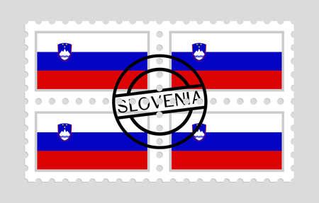 Slovenia flag on postage stamps Ilustração