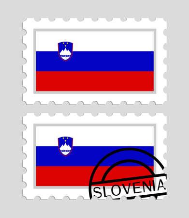 Slovenia flag on postage stamps Иллюстрация
