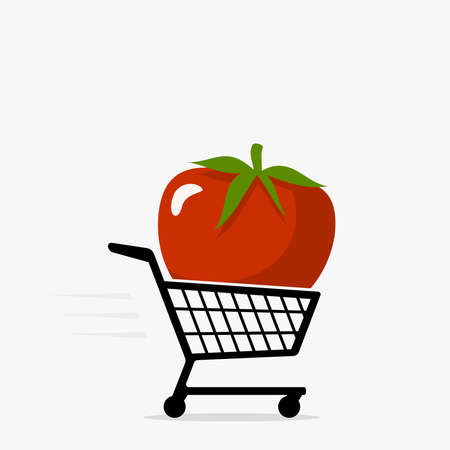 Shopping cart and tomato icon