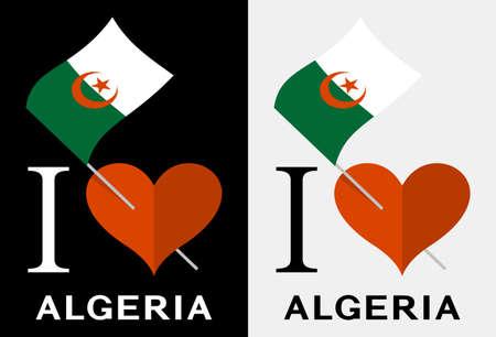I love Algeria. Flag and heart icons