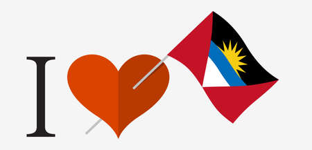 I love Antigua and Barbuda. Flag and heart icons