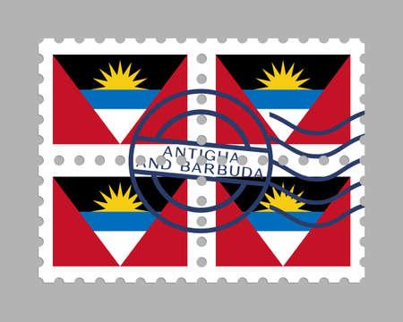 Antigua and Barbuda flag on postage stamps