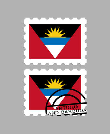 Antigua and Barbuda flag on postage stamps