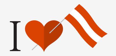 I love Austria. Flag and heart icons