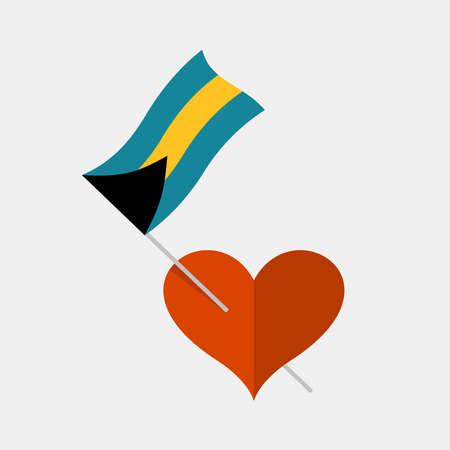 Heart icon with bahamas flag 일러스트