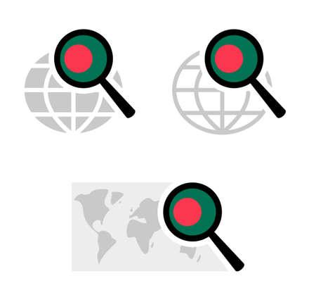 Search icons with bangladesh flag Ilustración de vector