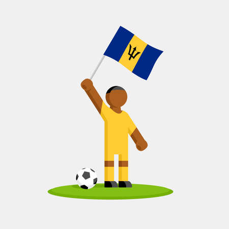 Soccer player in kit with barbados flag and ball