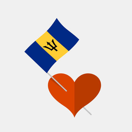 Heart icon with barbados flag