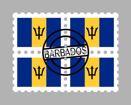 Barbados flag on postage stamps