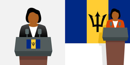 Barbados prime minister and flag