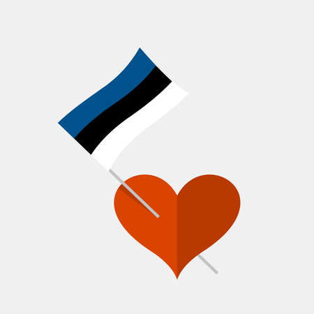 Heart icon with estonia flag 向量圖像