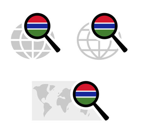 Search icons with gambia flag Stock Illustratie