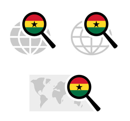 Search icons with ghana flag Stock Illustratie