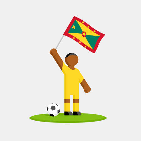 Grenada soccer player in kit with flag and ball Stock Illustratie
