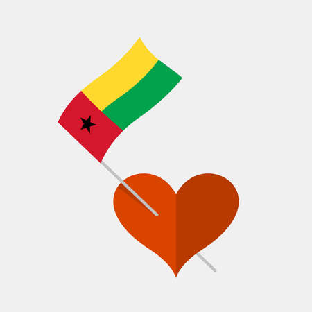 Heart icon with guinea-bissau flag Stock Illustratie