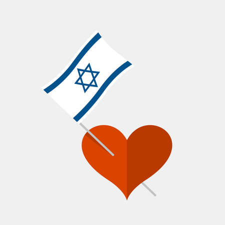 Heart icon with israel flag