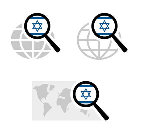 Search icons with israel flag Stock Illustratie