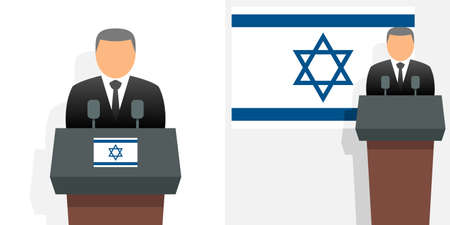 Israel prime minister and flag