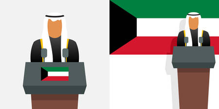 Kuwait emir or prime minister and flag
