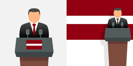 Latvia president or prime minister and flag