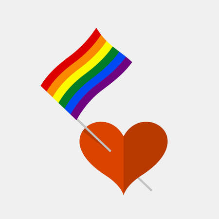 Heart icon with rainbow lgbt pride flag