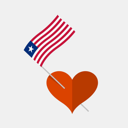 Heart icon with liberia flag