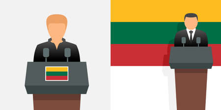 Lithuania president and prime minister and flag