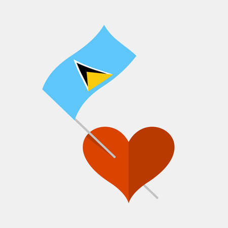Heart icon with saint lucia flag Stock Illustratie