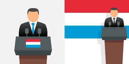 Luxembourg prime minister and flag