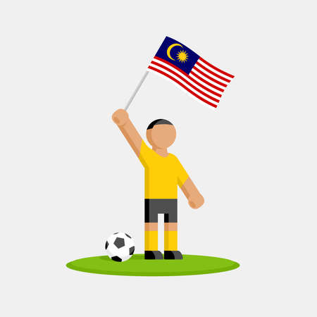 Malaysia soccer player in kit with flag and ball