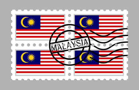 Malaysia flag on postage stamps Stockfoto - 127965004