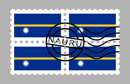 Nauru flag on postage stamps