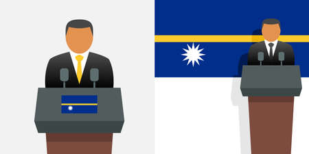 Nauru president and flag Stock Illustratie