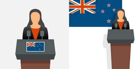 New Zealand prime minister and flag