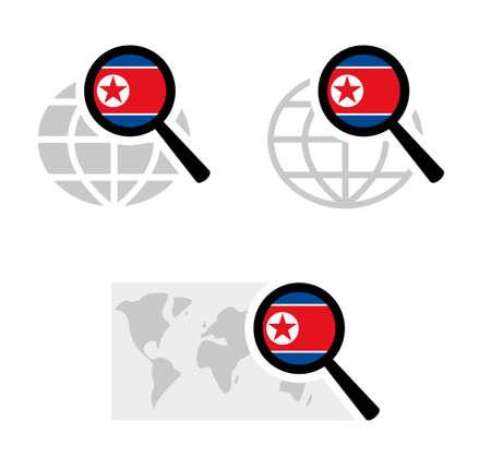 Buscar iconos con la bandera de corea del norte Ilustración de vector